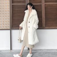 almohadilla rizada al por mayor-Nuevo estilo Lambswool Trench Coat para las mujeres acolchado de algodón rompevientos elegante Casaco Feminino rizado largo abrigo de viento