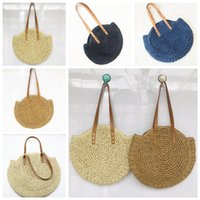 Wholesale woven style handbags resale online - 4styles Grass Weaving Handbag Bohemia Classic National Style For Women leisure Beach shoulder Travel Shopping storage bag FFA2120