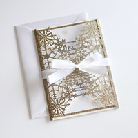 Winter Glitter Wedding Invitation, Snowflake Laser Cut Invitation, Elegant Wedding Invite Gold Glittery Wedding Invitations with Bow