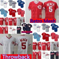 Wholesale baseball benches for sale - Cincinnati Reds Johnny Bench Jersey Cheap stitched Baseball Jerseys Retro Mesh Red White M XXXL