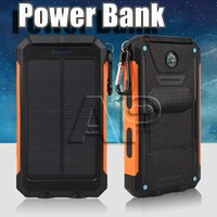 Wholesale solar powered mobile phone chargers online – Universal mAh Portable Solar power bank battery charger with LED flashlight and compass for Mobile Phones outdoor camping