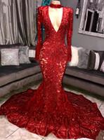 rotes scheinkleid langes hülse großhandel-2019 Rote Spitze V-Ausschnitt Lange Meerjungfrau Abendkleider Funkelnde Pailletten Sheer Long Sleeves Sweep Zug Formelle Party Prom Dresses BC0842