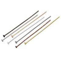 rodyum kafa pimi toptan satış-100 adet / torba Düz Kafa Iğneler Göz Pin 15-70mm Altın / Gümüş / Rodyum / Bronz İğneler Küpe Bulguları Takı Yapımı Için Headpins DIY