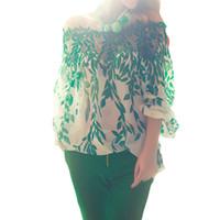 plus größe grün polyester bluse großhandel-Plus größe frauen sommer bluse boho langarm bluse baggy tops damen spitze shirts retro sexy slash neck print grün shirts