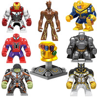 maquina de guantes al por mayor-Superhéroe Figura de juguete Avengers Infinity Gauntlet Thanos Energy Stone Gloves Iron Man Hulk Black Pather War Machine Spider Man Building Block