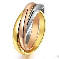 ring lovers man venda por atacado-Com caixa do logotipo 316L Titanium Aço Eterno 3 Cores Anéis Marca Para As Mulheres Homens Anel De Casamento Do Amante