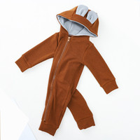 Wholesale baby long sleeve romper pattern for sale - Group buy Baby Hooded Jumpsuits Brown Cute Sika Deer Pattern Hooded Long Romper Western Style Cotton Composition Can customized Logo
