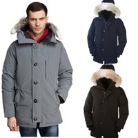 зимние парки оптовых-Известный бренд мужской дизайнер вниз зимняя куртка мужская лучшее качество куртка зимнее пальто женщины Гусь пуховик размер S-2XL