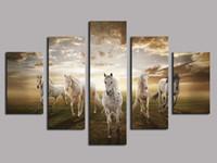 ingrosso pittura a olio eseguire cavalli-Running Horse Large, 5 pezzi Stampe su tela Wall Art Oil Painting Home Decor (Senza cornice / Con cornice)
