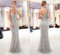 Wholesale womens tassels party dresses for sale – plus size 2019 Gorgeous Gray Gold Mermaid Designer Evening Dresses Luxury Beaded Sexy Deep V Neck Womens Formal Occasion Wear Prom Party Gown CPS1167