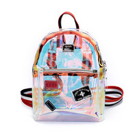 лазерный пвх оптовых-New Fashion Girl Clear Transparent See Through PVC Mini Backpack School Book Bag Laser Jelly Transparent Backpack