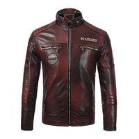 deri ceket yeni mens tarzı toptan satış-Erkek Tasarımcı Ceket Deri Yeni Marka Erkek Deri Ceket Moda Stil Motosiklet Kalın Ceket Rüzgarlık Deri Su Geçirmez Ceket