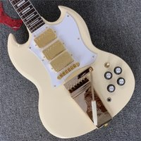 Wholesale white gold electric guitar for sale - Group buy Custom shop Three gold pickups with Long Maestro Electric guitar with Pure white body All Color are available