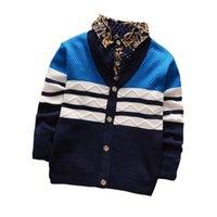 jungen pullover verkauf großhandel-BibiCola Hot Verkauf Baby gestrickte Strickjacke-Kleinkind-Frühlings-Herbst-gestreifte Pullover Kinderbekleidung Jungen Sweater