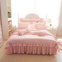 edredão de casamento princesa venda por atacado-Pink Princess Lace casamento de luxo cama Set Rei Queen Size Cotton Stain Bed lençóis Set Duvet Cover colcha fronha