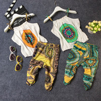 Wholesale chinese toddler girl fashion for sale - Group buy Baby Girl Fashion Clothes Kids Bohemian Strap Top Pants Retro Print Toddler Sleeveless Vest Suit Newborn Infant Cotton Clothing Mikrdoo Set