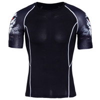 ajustado para hombre camisetas al por mayor-Medias camiseta con base para hombre Fitness Jogging Slim Fit Multi tipo ancho hombro Cuello redondo manga corta