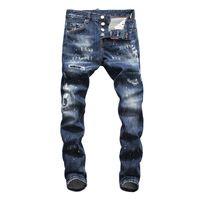 jeans casual plus al por mayor-2019 Primavera Otoño Nuevo Diseñador de Mens Jeans de Moda Casual Pantalones Delgados Largos Bordado Cremallera Jeans de Lujo Hip Hop Plus Tamaño 30-38
