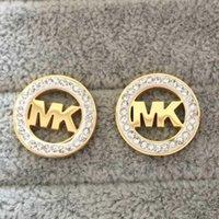 18 k gold plates بالجملة-جديد وصول الأزياء والمجوهرات k ختم أعلى جودة النساء الفاخرة أقراط 316l التيتانيوم الصلب أقراط الذهب مطلي مربط القرط أسعار الجملة