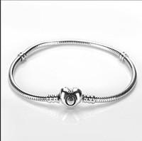 herzförmige klammern großhandel-Pandora Armbänder Herzform Schlangenkette Fit Pandora Charm Bead Armreif Armband Schmuck Geschenk für Männer Frauen Marke wie Pandora unter CNY290
