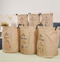 Wholesale organizer clothes bags resale online - Burlap Storage Baskets Bins Jute Storage Bags Round Bucket Clothing Organizer Laundry Bag Organizer Letter Printing styles LQPYW460