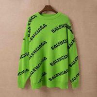blusas marrons mulheres venda por atacado-Paris homens e mulheres 19 nova carta jacquard camisola gola redonda verde índigo marrom S M L XL XXL