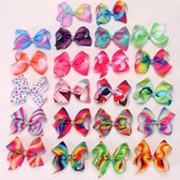fitas de arco-íris venda por atacado-Crianças Grampos de Cabelo Do Arco-íris Bonito 5 Polegadas Meninas Bowknot Hairpin Colorido Bow Ribbon Presilhas Baby Party Acessórios Para o Cabelo TTA1090