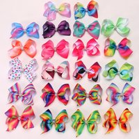 Wholesale 5 inch bows clips resale online - Kids Rainbow Hair Clips Cute Inches Girls Bowknot Hairpin Colorful Bow Ribbon Barrettes Baby Party Hair Accessories TTA1090