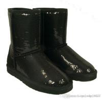 botas de lentejuelas azules al por mayor-Moda mujer lentejuelas glitter Botas de nieve BOTAS Zapatos de invierno Negro Azul púrpura oro plata 6colors 5-10 tamaño Precio bajo44