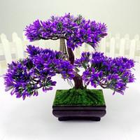 künstliche bonsai-bäume großhandel-Künstliche Bonsai-Baum-Simulations-Anlagen für Aquarium-grüne Plastikpflanzen-Kiefern-Hausgarten-Dekoration