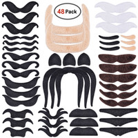 Wholesale fake costume beard resale online - 48pcs Set Fake Mustaches Self Adhesive For Party Costume Performance Novelty Mustaches For Kids Adult Simulation Beard Styles WX9