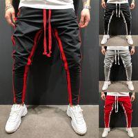 los hombres calzan pantalones deportivos al por mayor-Hombres Fitness Costura Cremallera Pie Deportes Pantalones Jogger Slim Fit Correr Fitness Moda Pantalones Tamaño M-3XL