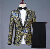 şarkıcı aşaması için elbiseler toptan satış-Jakarlı blazer erkekler şarkıcılar için erkek takım elbise tasarımları suits ceket erkek giyim dans yıldız tarzı elbise kaya masculino homme