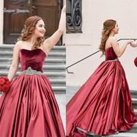 Wholesale green velvet ball dress for sale - Group buy 2019 Dark Red Ball Gown Velvet Party Gowns Sweetheart Rhinestone Sash Satin Abric Dubai Bridal Prom Dress