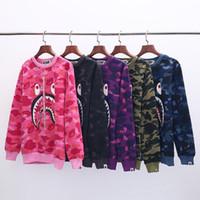 logotipo japonês venda por atacado-19ss primavera novo japonês popular logotipo camuflagem com gola de lã pullover tamanho grande solto algodão casual base camisola com capuz atacado