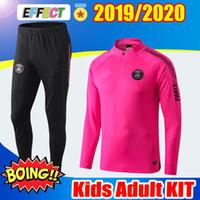 Wholesale pink tracksuit men for sale – designer 2018 PSG Pink Air Training suit Adult Kit Survetement MBAPPE Kids Paris Saint germain AJ Tracksuit Football Survetement Kits