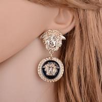 Wholesale gold lion earrings for sale - Group buy Women Gold Lion head Earring fashion brand new crystal Round Medusa Stud For Women Girl Gift