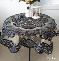 cubiertas de tela mesa de café al por mayor-Lujo brillo cuadrado negro mantel bordado encaje cocina mesa de café cubierta de tela de Navidad año nuevo decoración de la boda