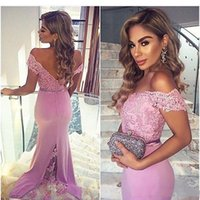 Wholesale sheath nude dress online - 2019 Lavender Off Shoulder Evening Party Dresses Lace african Mermaid Formal Party Prom Gowns With Buttons Bridesmaid Dresses CPS211
