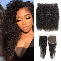 Wholesale inch brazilian jerry curl hair resale online - Jerry Curl Bundles With Closure Brazilian Virgin Hair Natural Color Bundles with x4 Lace Closure Inch Remy Human Hair Extensions