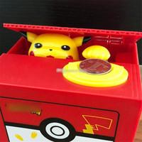 Wholesale electronics money for sale - Group buy New Pocket Monster Bikachu Electronic Plastic Money Box Steal Coin Piggy Bank Money Safe Box For Kids Gift Desk Toy
