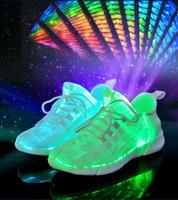 оптоволоконные светодиоды оптовых-Детская обувь Размер 25-46 Летние светодиодные волоконно-оптические кроссовки для девочек мальчиков Мужские женские USB зарядка светящиеся кроссовки загораются в ночной обуви