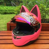 Wholesale xxl full helmet for sale - Group buy Motorcycle helmet with cat ears Pink helmet race antifog personality design with horn e moto casco full face