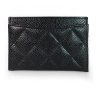 couro caviar acolchoado venda por atacado-Cartões de crédito caso titular do cartão preto manta 11.5X8 cm Clássico Preto acolchoado Caviar Pele De Carneiro pacote de Cartão de couro feminino