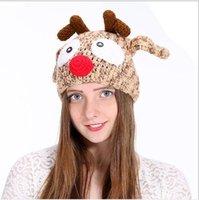ingrosso cappello a crochet adulto lavorato a mano-Vacanze must-have cappello di maglia a mano lana fatti a mano il cappello del crochet adulta del fumetto di Natale alce