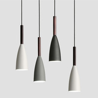 lámparas de estilo moderno al por mayor-Luces colgantes de estilo nórdico LED Lámpara Colgante Comedor Suspensión luminaria lámpara de madera para la iluminación del hogar lámparas colgantes modernas