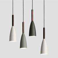 luces modernas de madera al por mayor-Luces colgantes estilo nórdico LED Lámpara colgante Comedor Suspensión Luminaria lámpara de madera Para iluminación del hogar modernas lámparas colgantes