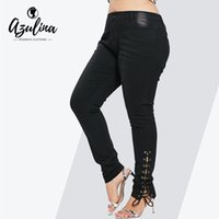 modern artı giyim toptan satış-Rosegal Artı Boyutu Kot Fermuar Fly Yan Lace Up Kadınlar Pantolon Yeni modası Sıska Yüksek Bel Kot Pantolon Pantolon Bayan Giysileri Y190430