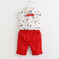 calça azul bebê menino venda por atacado-2019 novos meninos Crianças Conjuntos de Roupas Conjuntos de Roupas de Bebê Carta Padrão Roupas + Stripe Calças Azuis 2 Pc Roupas Infantis
