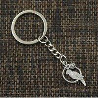 kuş kafesi cazibeleri toptan satış-20 adet / grup Anahtarlık Anahtarlık Takı Gümüş Kaplama Birdcage Charms 14x28mm anahtar Aksesuarları